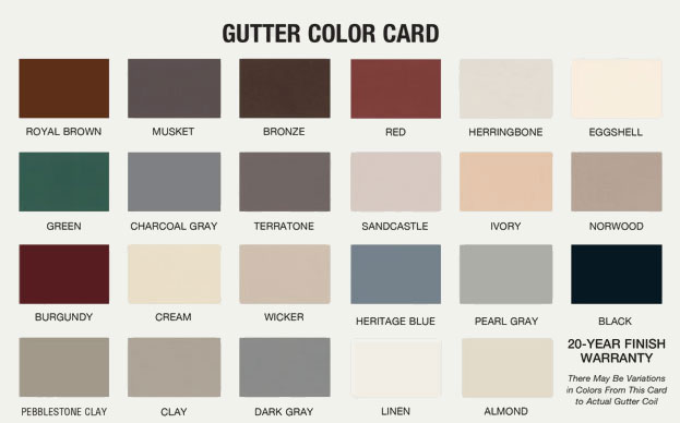 Mark J Fisher Roofing   Gutter Installation Color Card