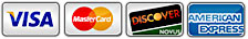We accept Visa, Mastercard, Discover and American Express Credit Cards